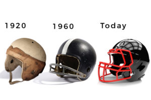 Football helmets evolution since 1920